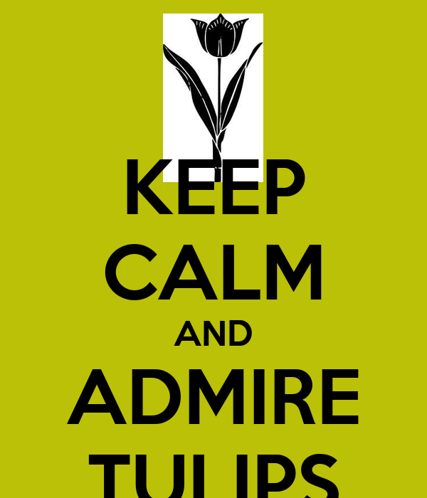 KEEP CALM AND ADMIRE TULIPS