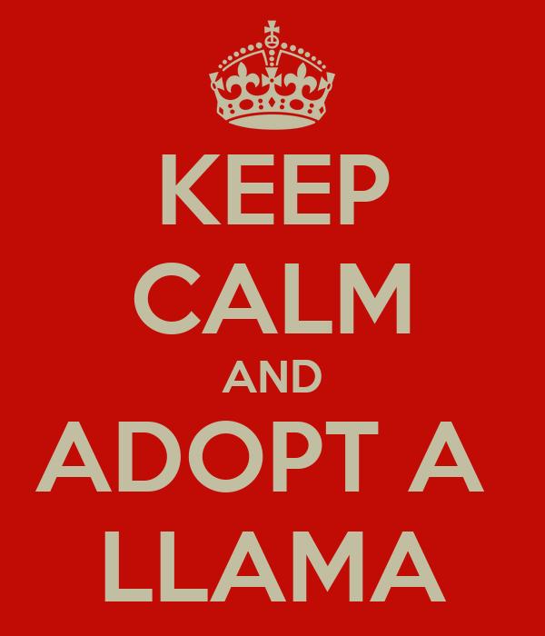 KEEP CALM AND ADOPT A  LLAMA