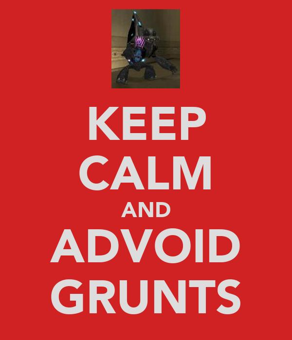 KEEP CALM AND ADVOID GRUNTS