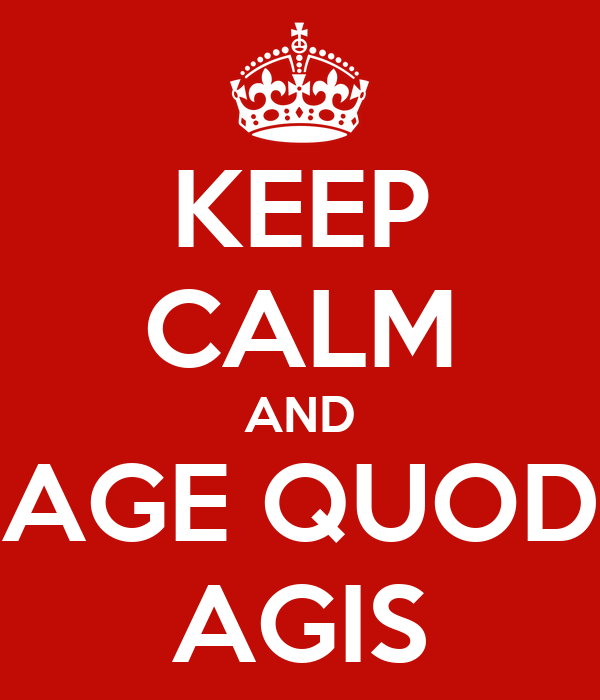 KEEP CALM AND AGE QUOD AGIS