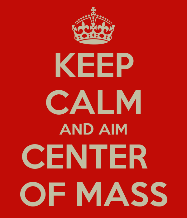 KEEP CALM AND AIM CENTER   OF MASS