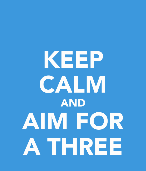 KEEP CALM AND AIM FOR A THREE