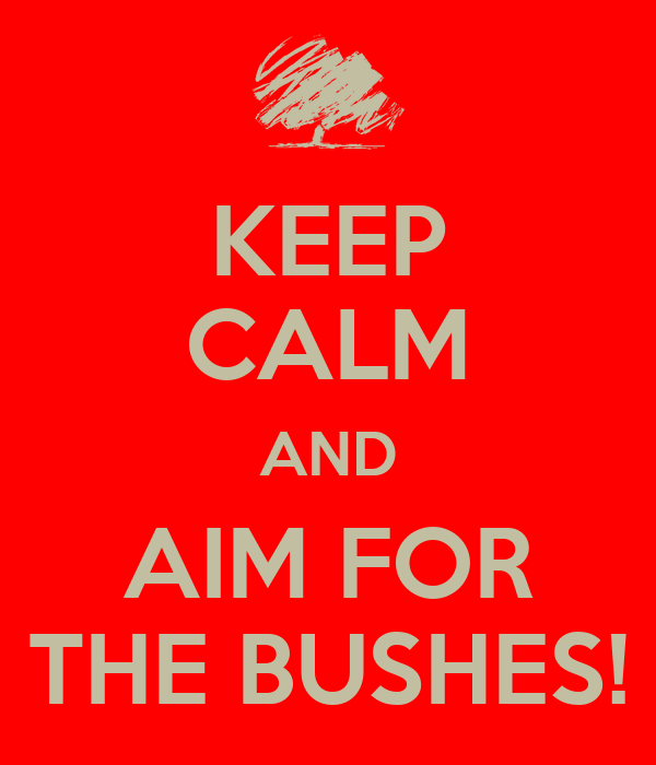 KEEP CALM AND AIM FOR THE BUSHES!