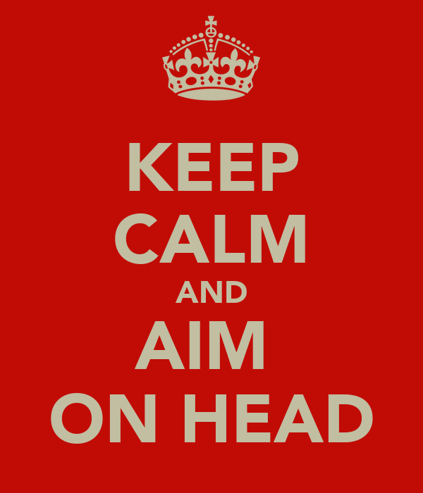 KEEP CALM AND AIM  ON HEAD