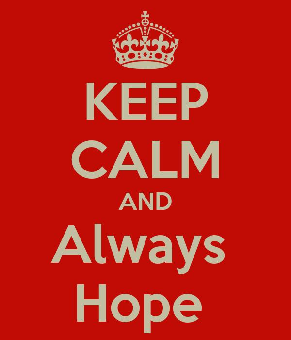 KEEP CALM AND Always  Hope