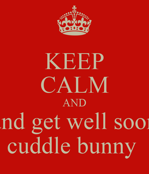 KEEP CALM AND and get well soon cuddle bunny