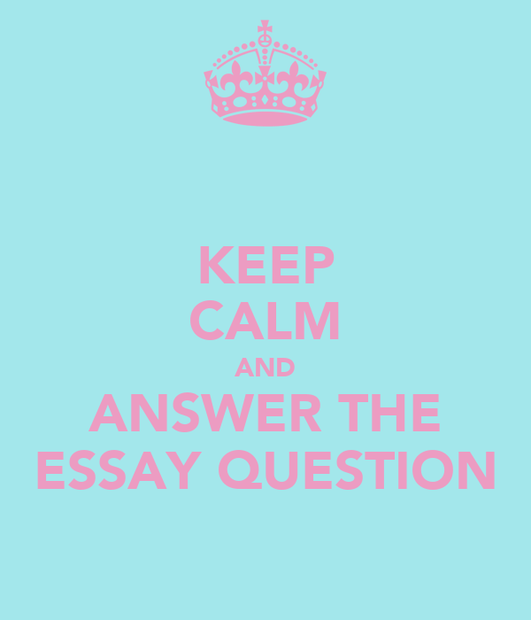 KEEP CALM AND ANSWER THE ESSAY QUESTION
