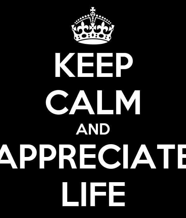 KEEP CALM AND APPRECIATE LIFE