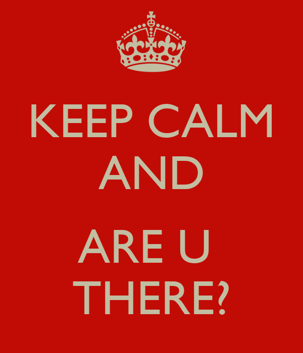 KEEP CALM AND  ARE U  THERE?