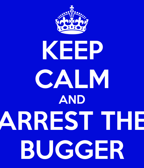 KEEP CALM AND ARREST THE BUGGER