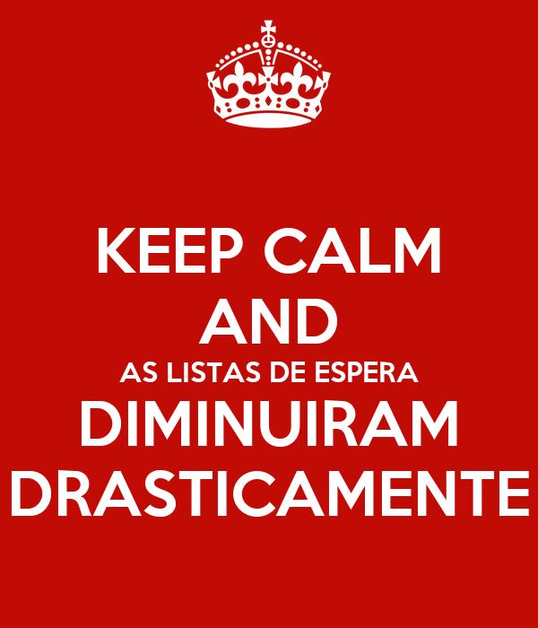 KEEP CALM AND AS LISTAS DE ESPERA DIMINUIRAM DRASTICAMENTE