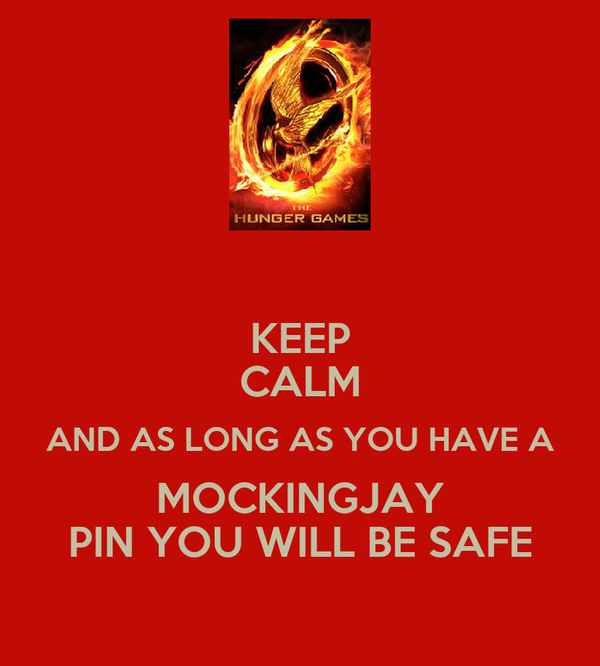 KEEP CALM AND AS LONG AS YOU HAVE A MOCKINGJAY PIN YOU WILL BE SAFE