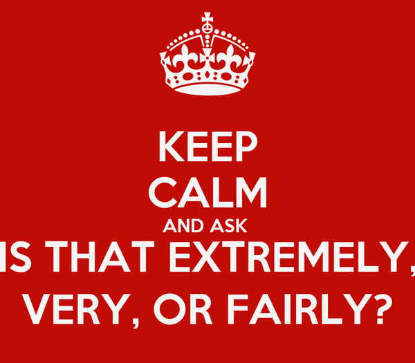 KEEP CALM AND ASK  IS THAT EXTREMELY, VERY, OR FAIRLY?