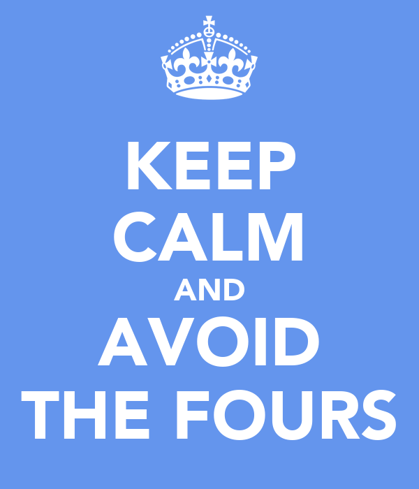 KEEP CALM AND AVOID THE FOURS