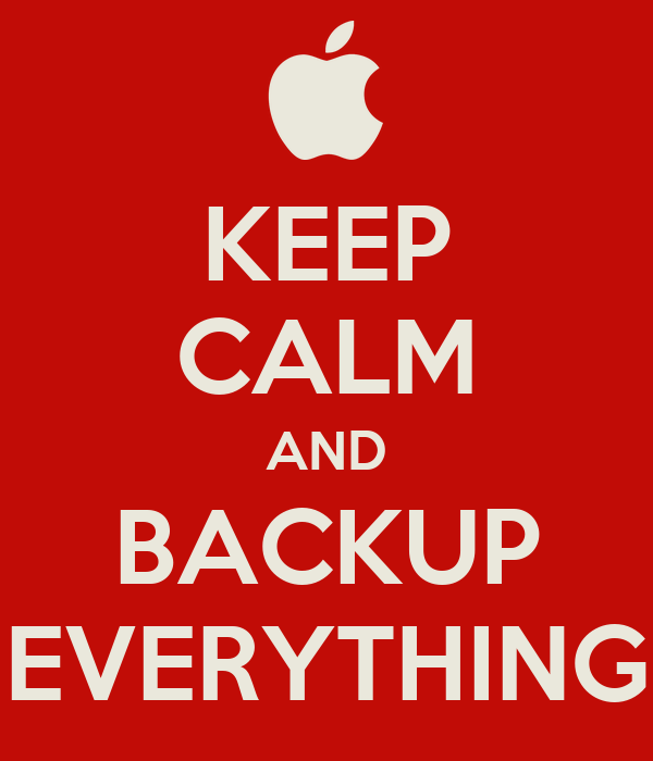 KEEP CALM AND BACKUP EVERYTHING