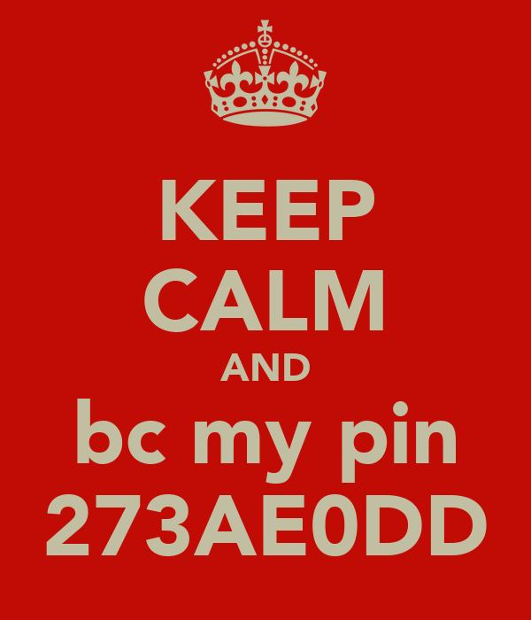 KEEP CALM AND bc my pin 273AE0DD
