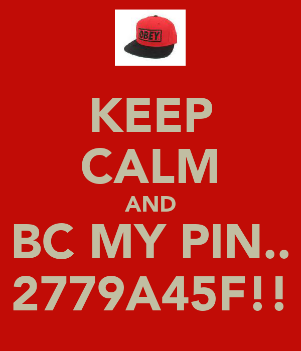 KEEP CALM AND BC MY PIN.. 2779A45F!!