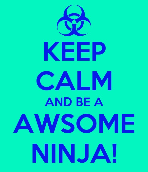 KEEP CALM AND BE A AWSOME NINJA!