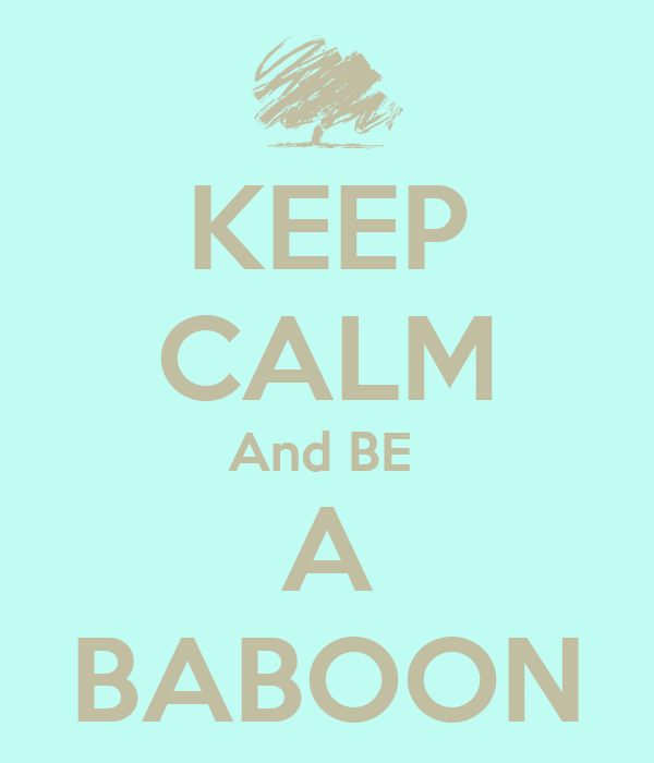 KEEP CALM And BE  A BABOON