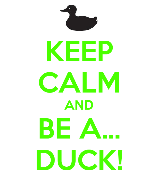 KEEP CALM AND BE A... DUCK!