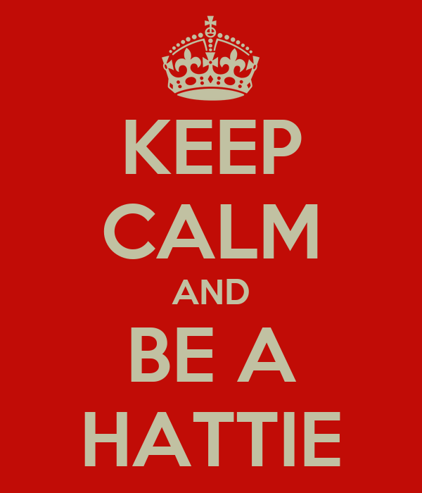KEEP CALM AND BE A HATTIE
