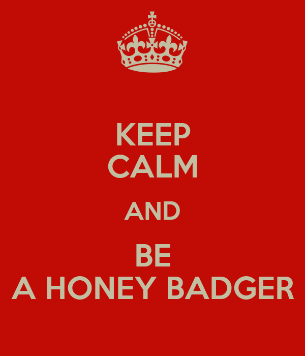 KEEP CALM AND BE A HONEY BADGER