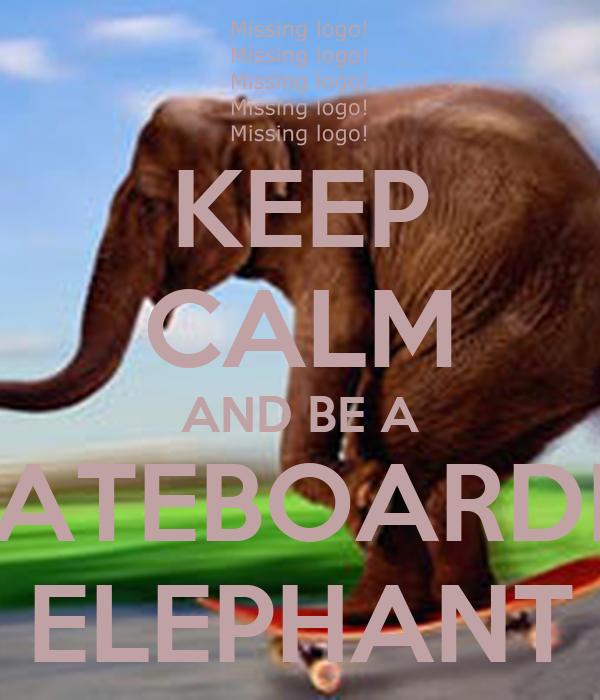 KEEP CALM AND BE A  SKATEBOARDING ELEPHANT