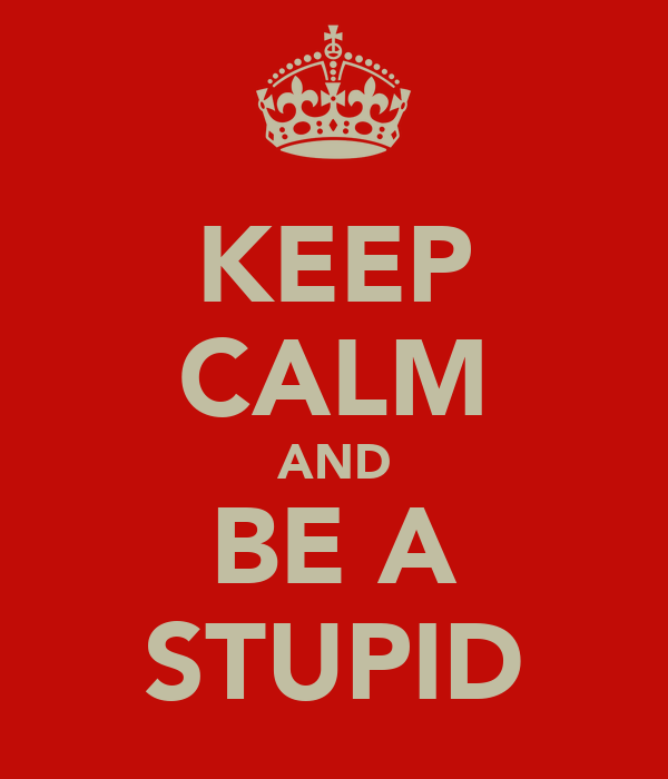 KEEP CALM AND BE A STUPID