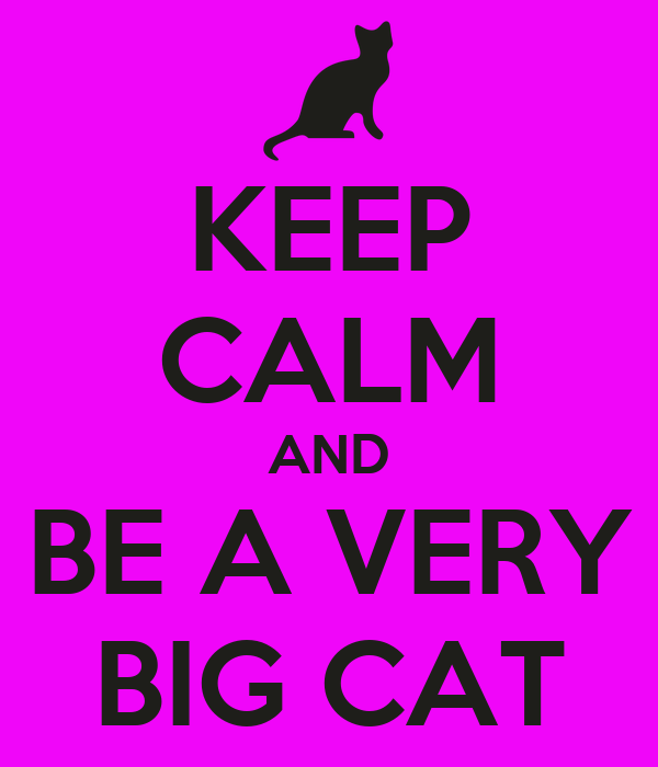 KEEP CALM AND BE A VERY BIG CAT