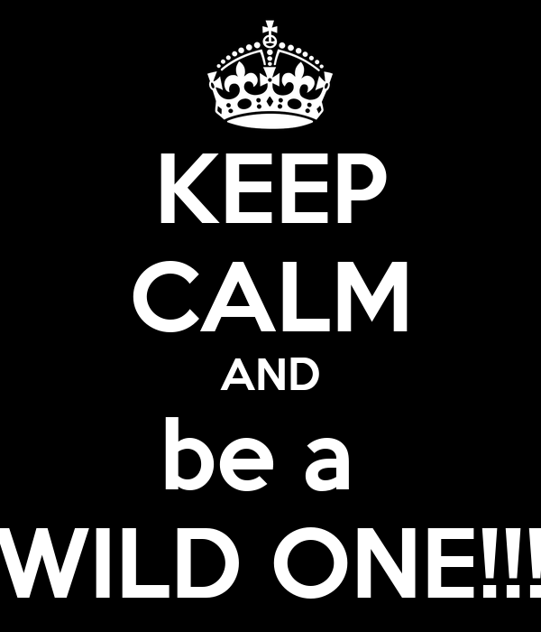 KEEP CALM AND be a  WILD ONE!!!