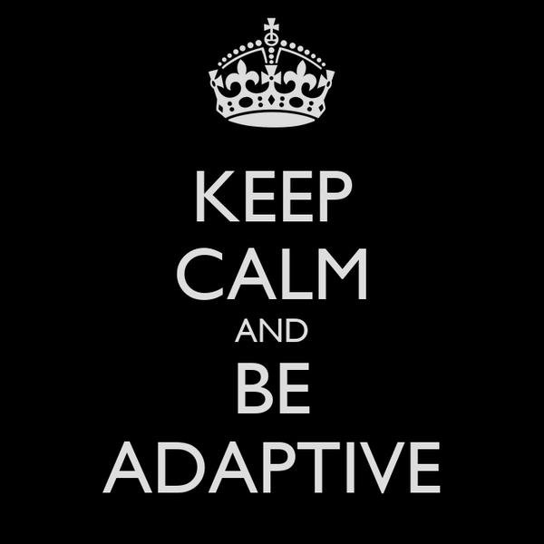 KEEP CALM AND BE ADAPTIVE