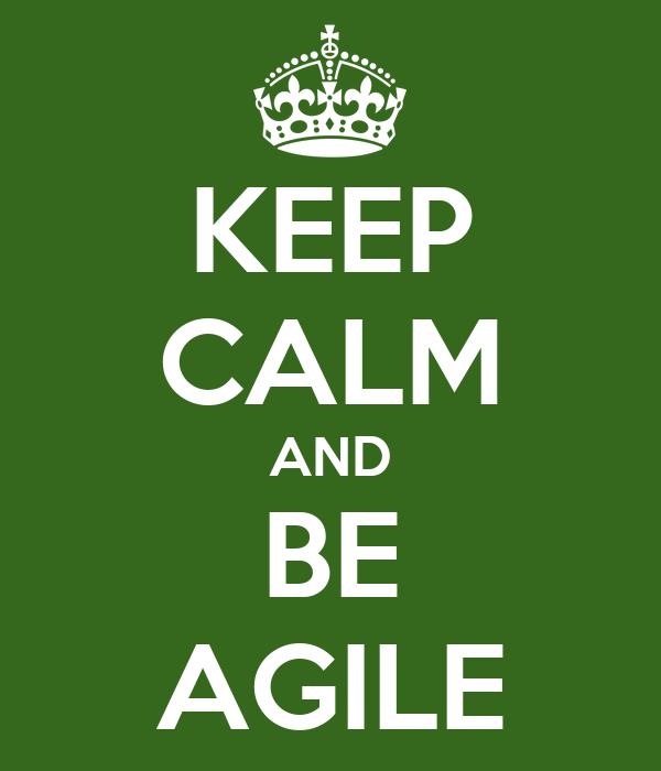 KEEP CALM AND BE AGILE