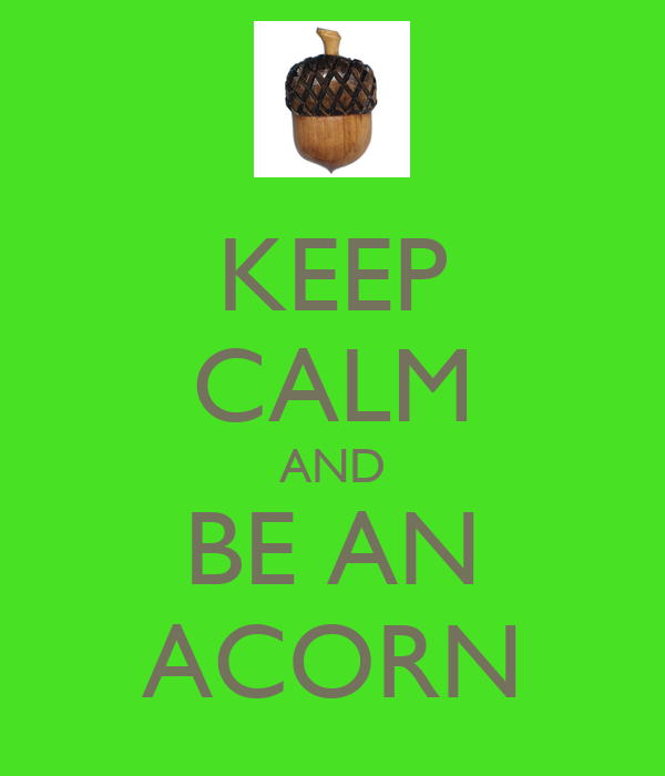 KEEP CALM AND BE AN ACORN
