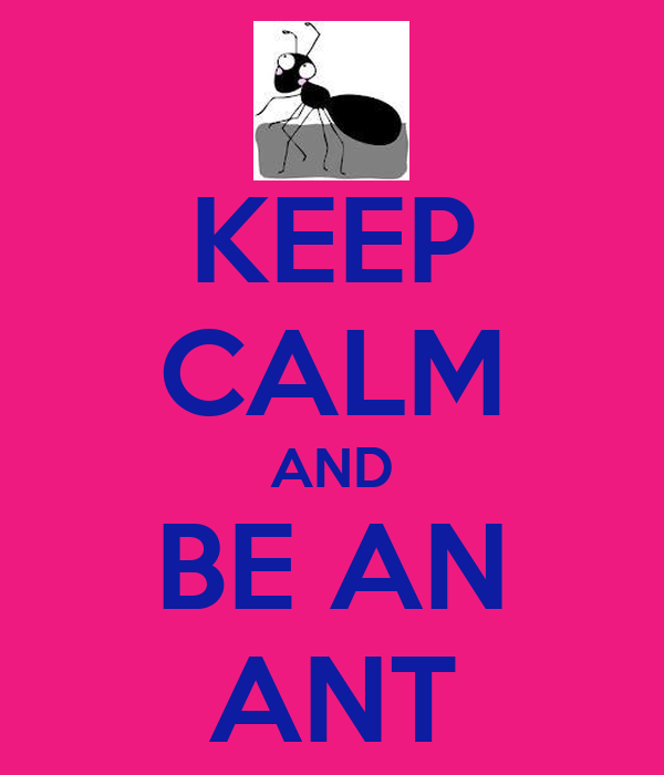 KEEP CALM AND BE AN ANT