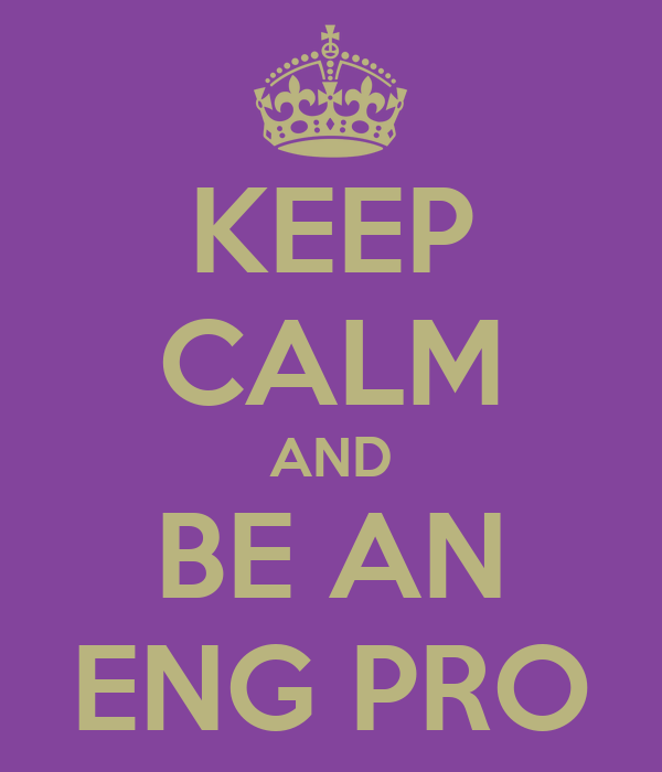 KEEP CALM AND BE AN ENG PRO