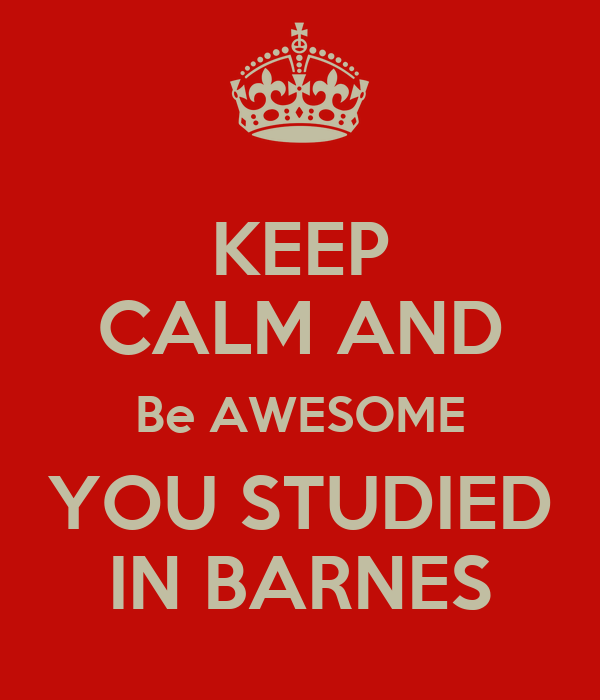KEEP CALM AND Be AWESOME YOU STUDIED IN BARNES
