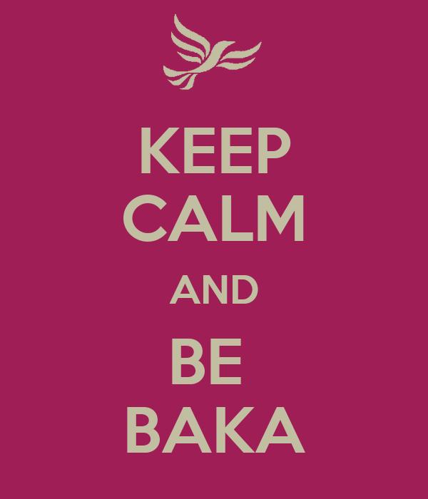 KEEP CALM AND BE  BAKA