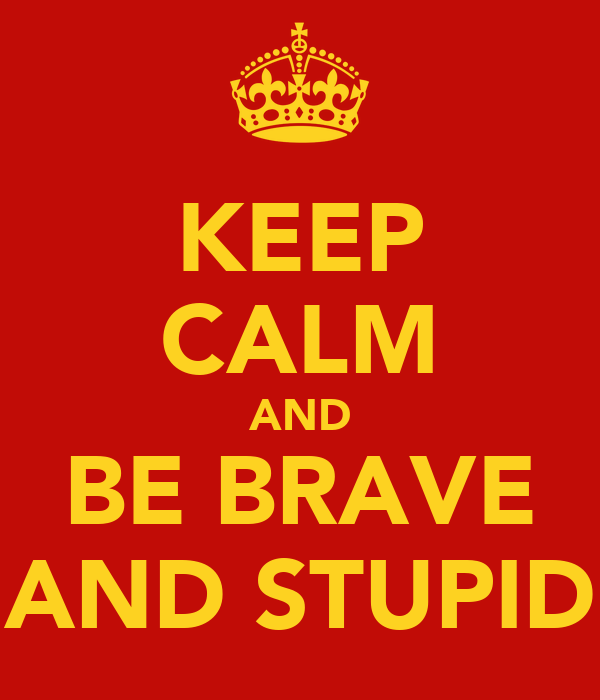 KEEP CALM AND BE BRAVE AND STUPID