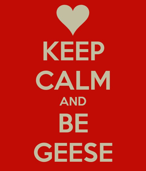 KEEP CALM AND BE GEESE