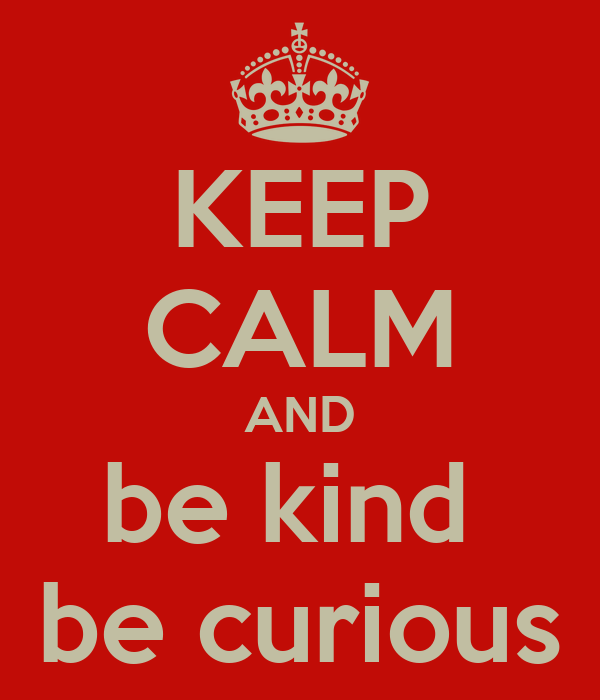 KEEP CALM AND be kind  be curious