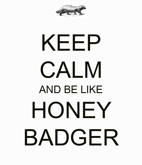 KEEP CALM AND BE LIKE HONEY BADGER