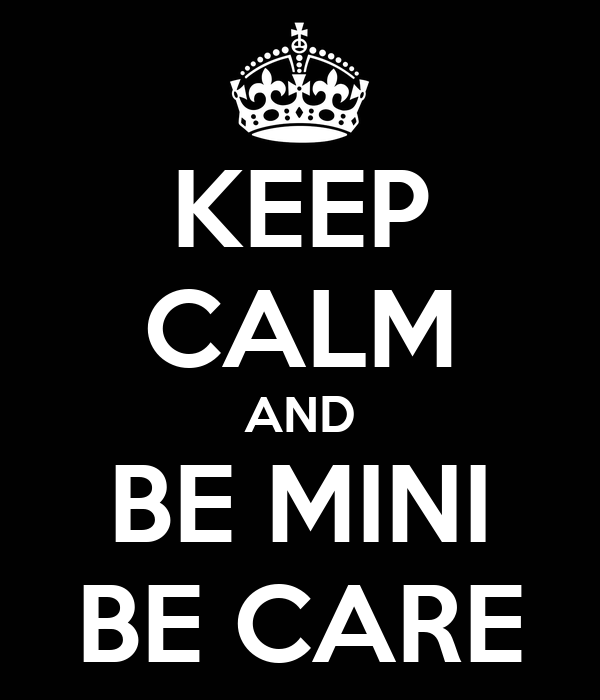 KEEP CALM AND BE MINI BE CARE