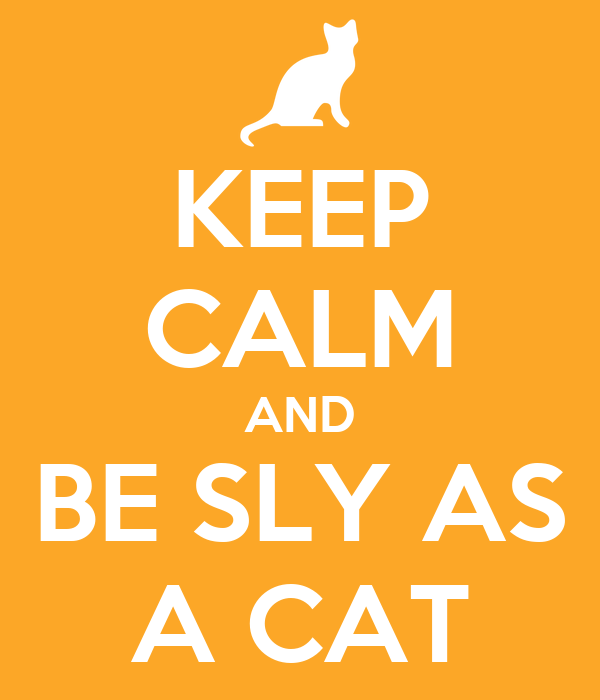 KEEP CALM AND BE SLY AS A CAT