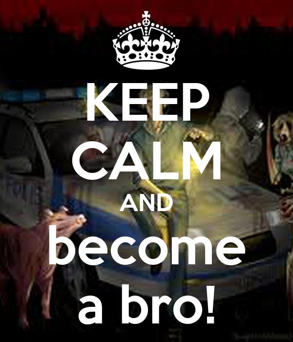 KEEP CALM AND become a bro!