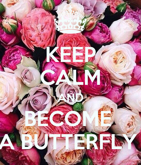 KEEP CALM AND BECOME  A BUTTERFLY