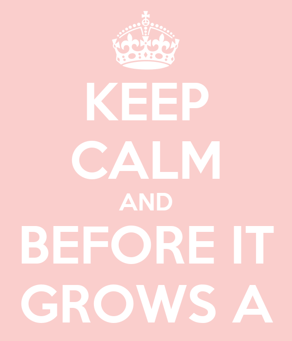 KEEP CALM AND BEFORE IT GROWS A