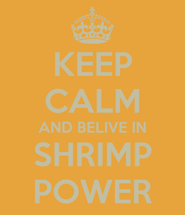 KEEP CALM AND BELIVE IN SHRIMP POWER