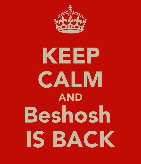 KEEP CALM AND Beshosh  IS BACK