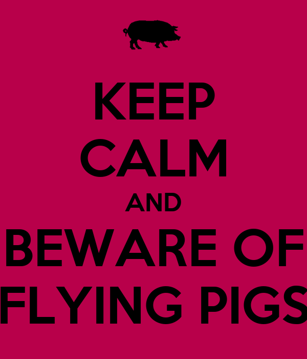 KEEP CALM AND BEWARE OF FLYING PIGS