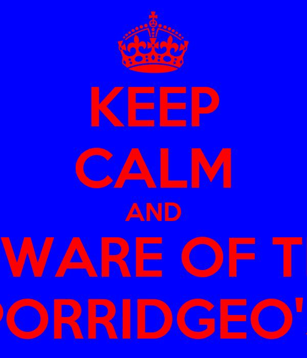 KEEP CALM AND BEWARE OF THE PORRIDGEO'S